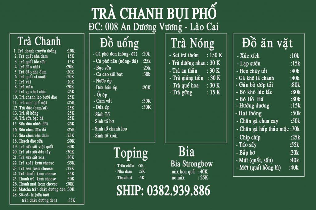 Giá bán trà chanh Bụi Phố