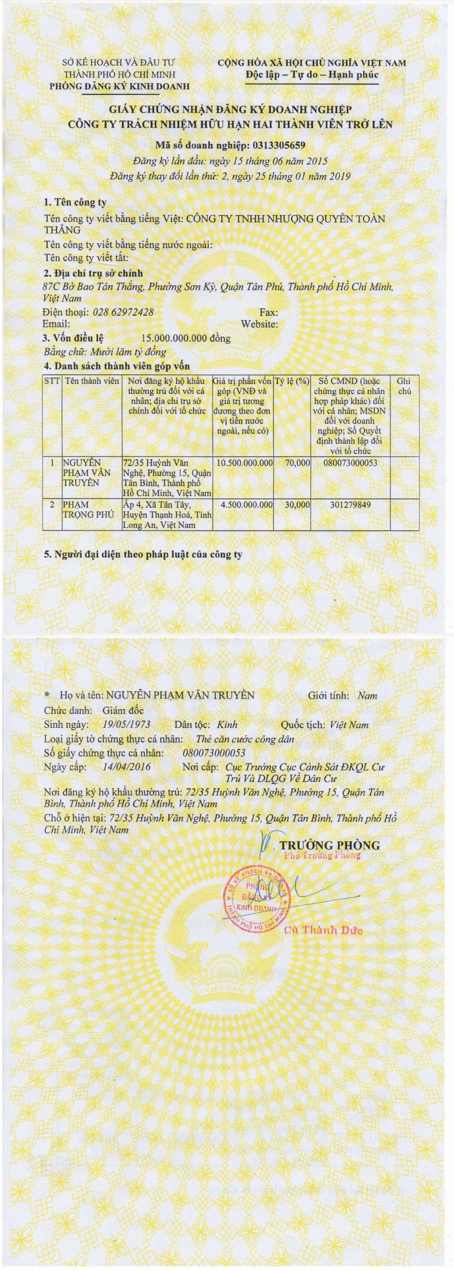 giấy đăng ký kinh doanh của nhượng quyền toàn thắng
