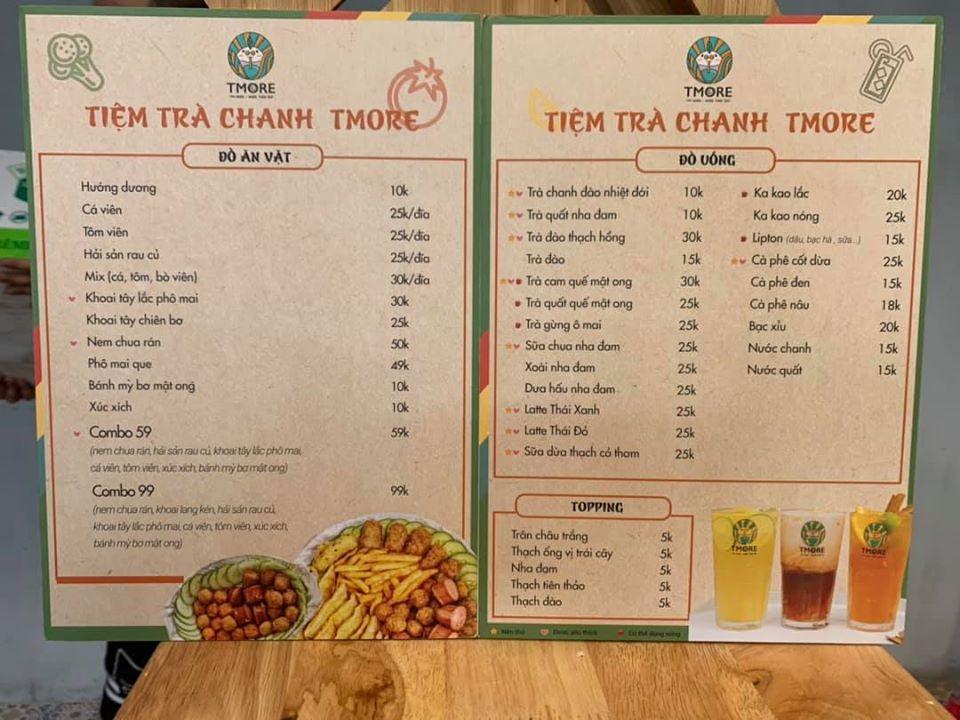 menu trà chanh nhượng quyền